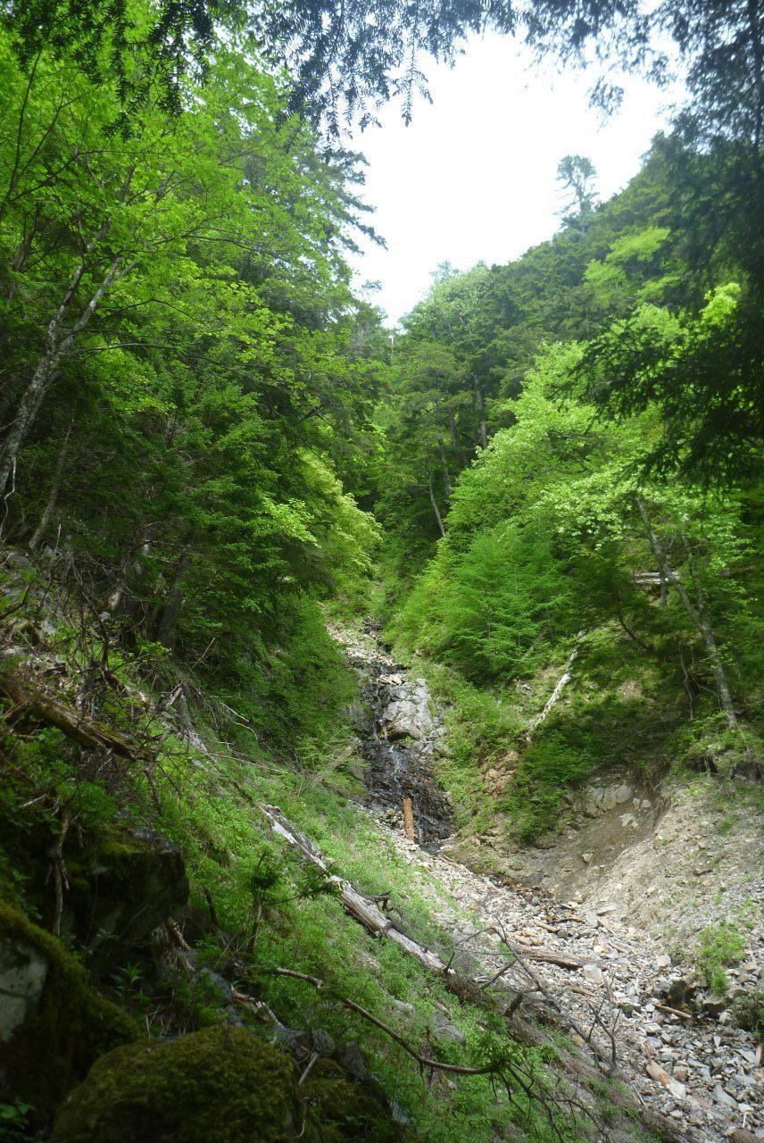 岳沢越し - 南沢奥の滝